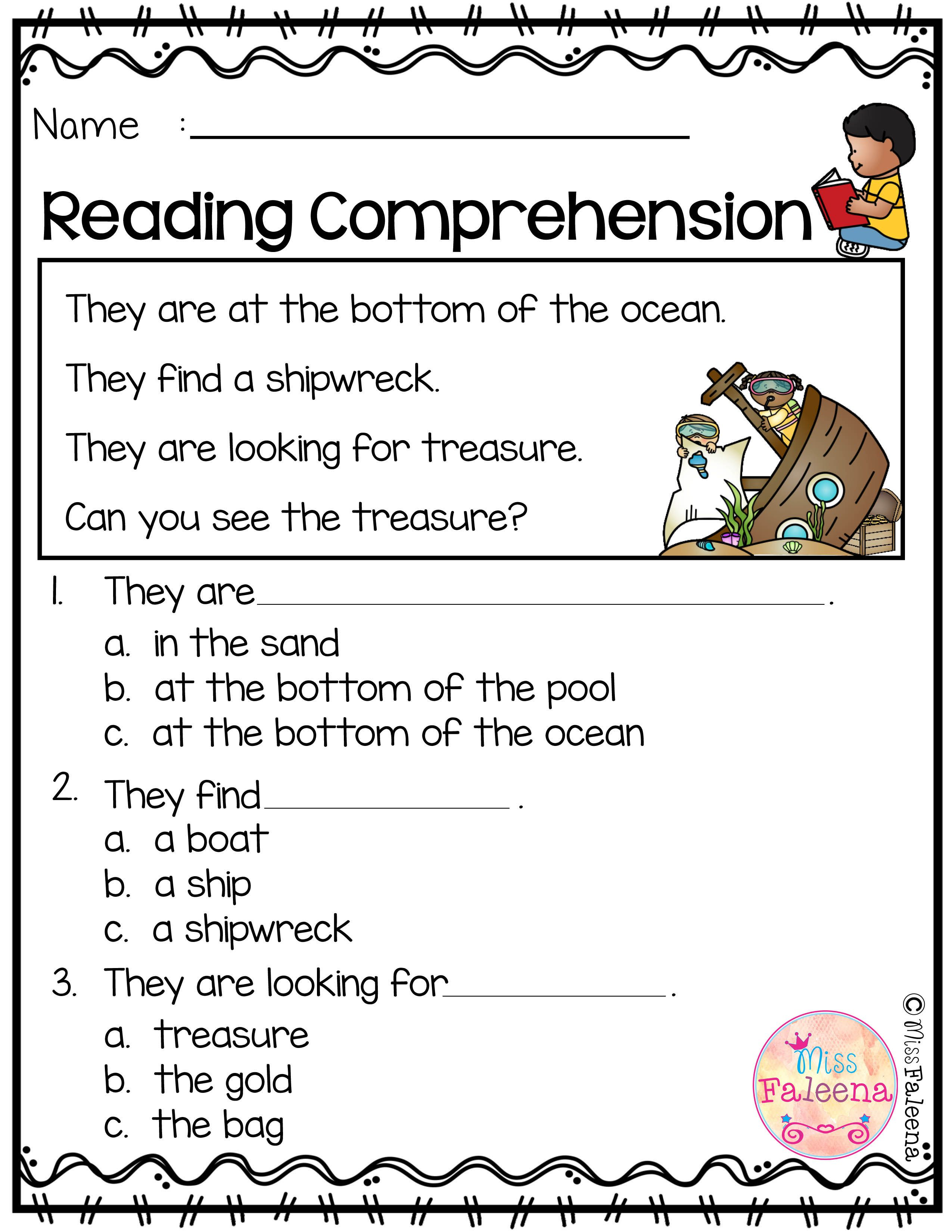 Free Reading Comprehension is suitable for Kindergarten students or ...