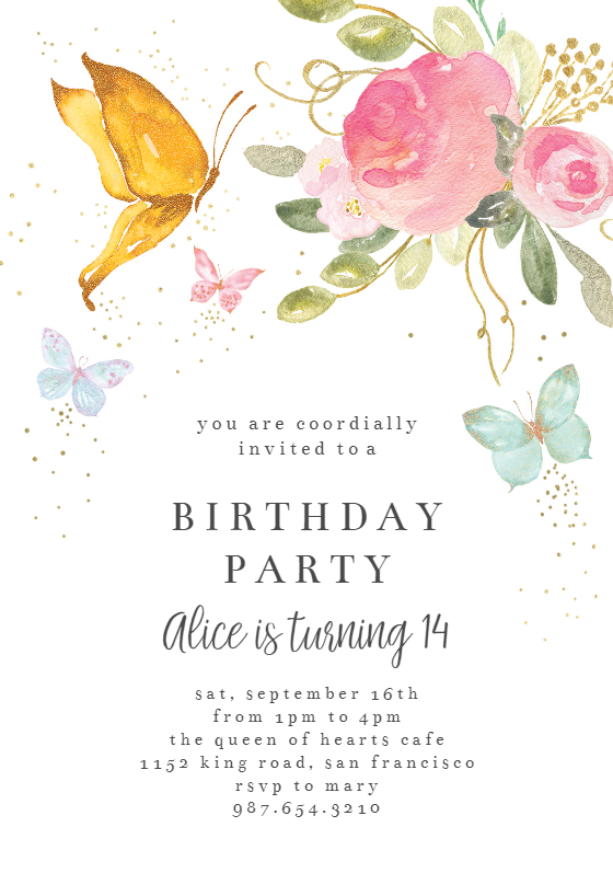 Floral Butterflies Party Invitation Template Free Greetings Island Butterfly Birthday Invitations Free Birthday Invitation Templates Free Birthday Invitations