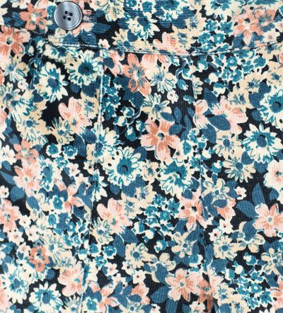 Image 5 of Needle cord floral trousers from Zara