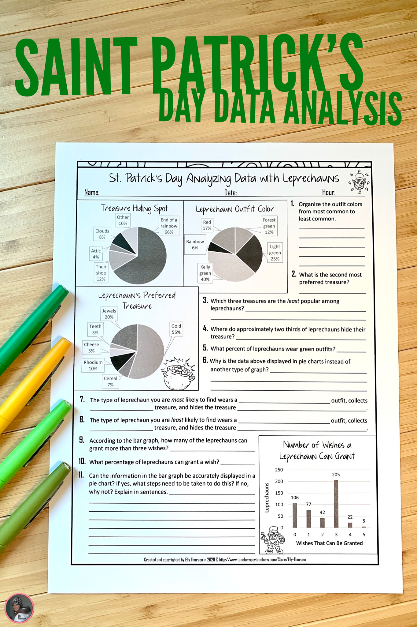 Saint Patrick S Dayyzing Data Worksheet With
