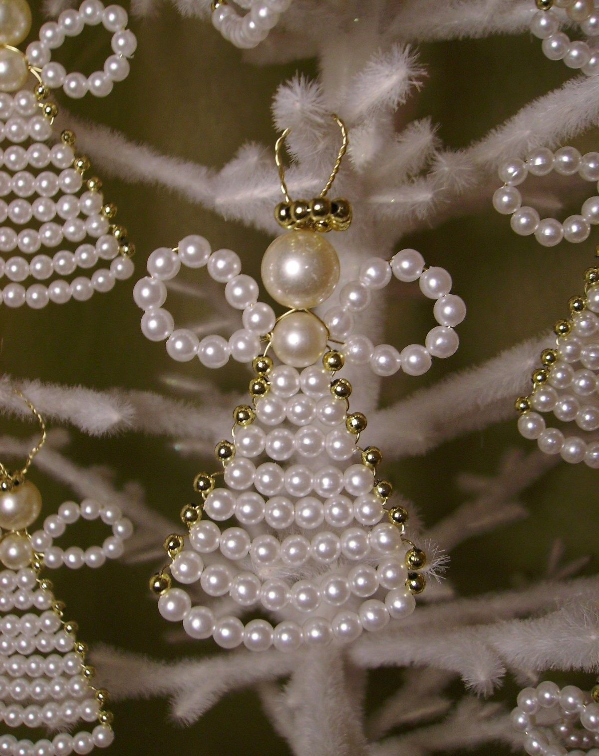7 Beaded Angel Ornaments Pearls Etsy Angel Ornaments Beaded Angels Christmas Angel Ornaments