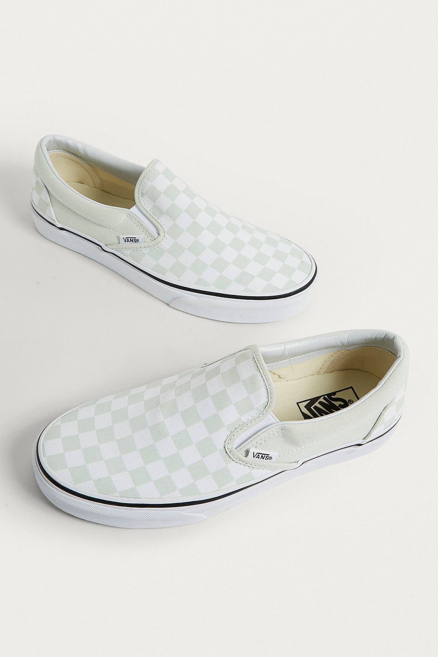 6b39280b9de2c1 Vans Classic Mint Checkerboard Slip-On Trainers