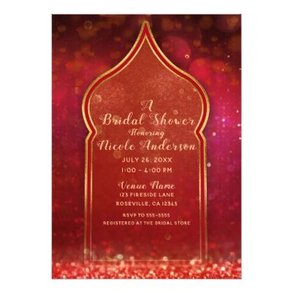 Red Gold Moroccan Arabian Nights Bridal Shower Card