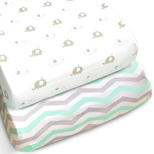 Jersey Cotton Fitted Crib Sheets Gray Mint Chevron Elephants Nursery Bedding New