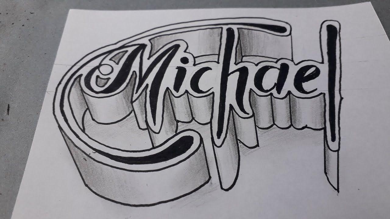 How To Make 3d Name Michael Writing Art Easy Writing Art Graffiti Images Skulls Drawing