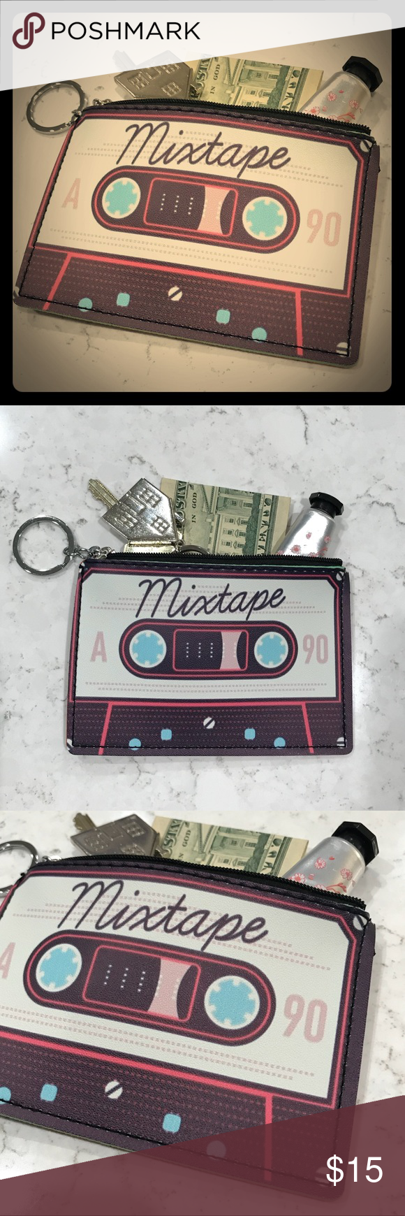 Mix cassette tape coin purse A fun little coin purse! Fits