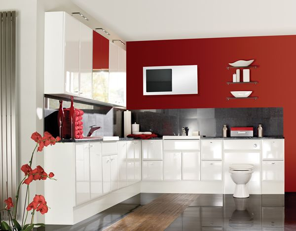 Nice Simple Shiny White Cabinets With Red Accents