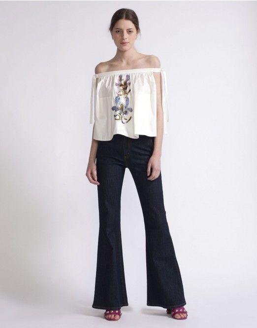 d1f0ed36b90f77 Cynthia Rowley - Off-Shoulder Floral Sequin Top