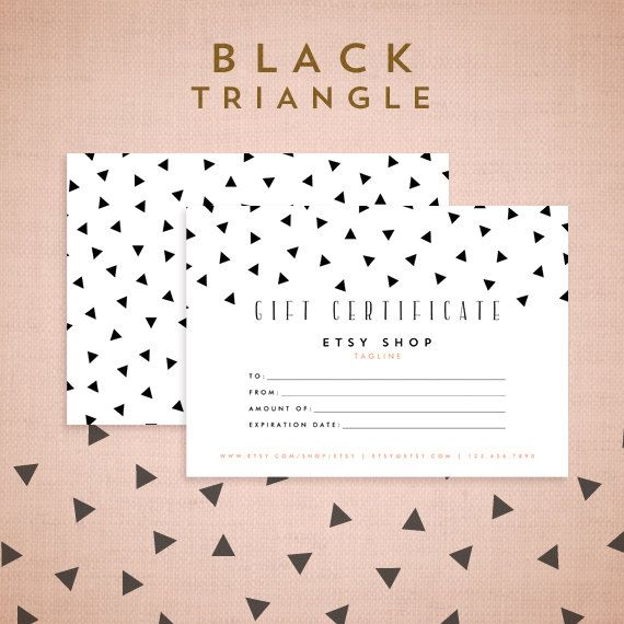 Printable Gift Certificate Design - Black Triangle Collection - gift certificate samples