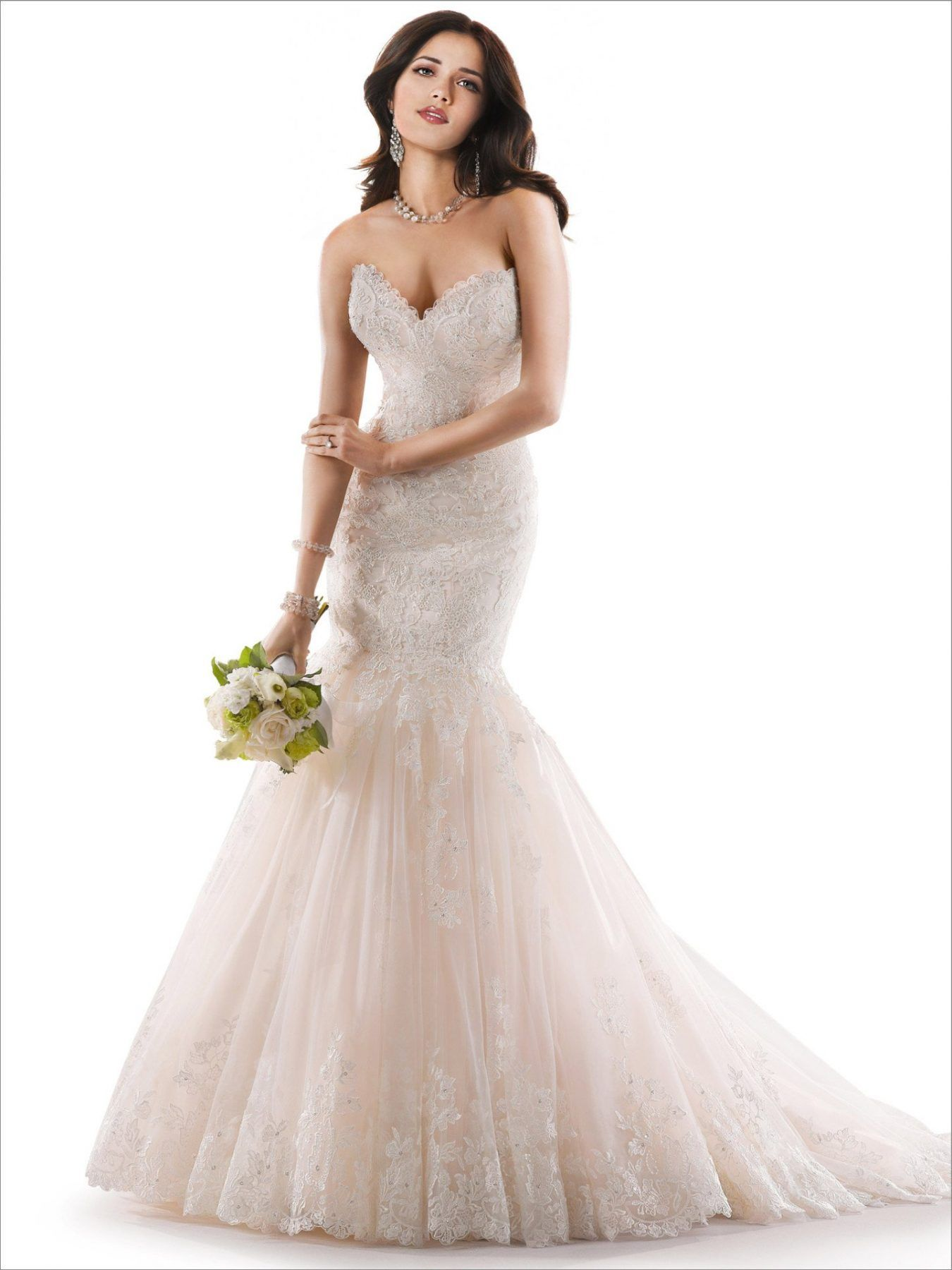 Lace sweetheart wedding dress  Blush beaded lace sweetheart neckline fit and flare tulle skirt