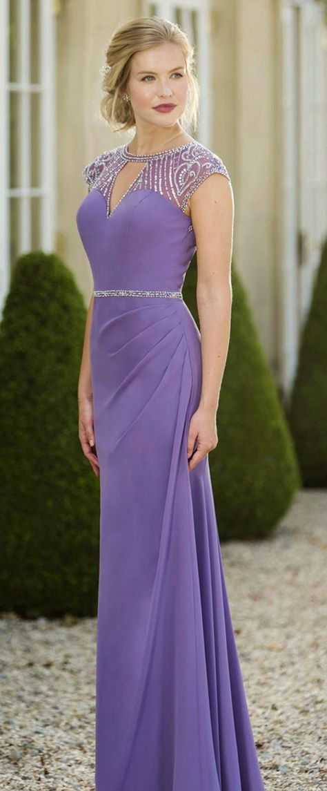 Glamorous Tulle & Chiffon Jewel Neckline Cap Sleeves Cut-out Sheath ...