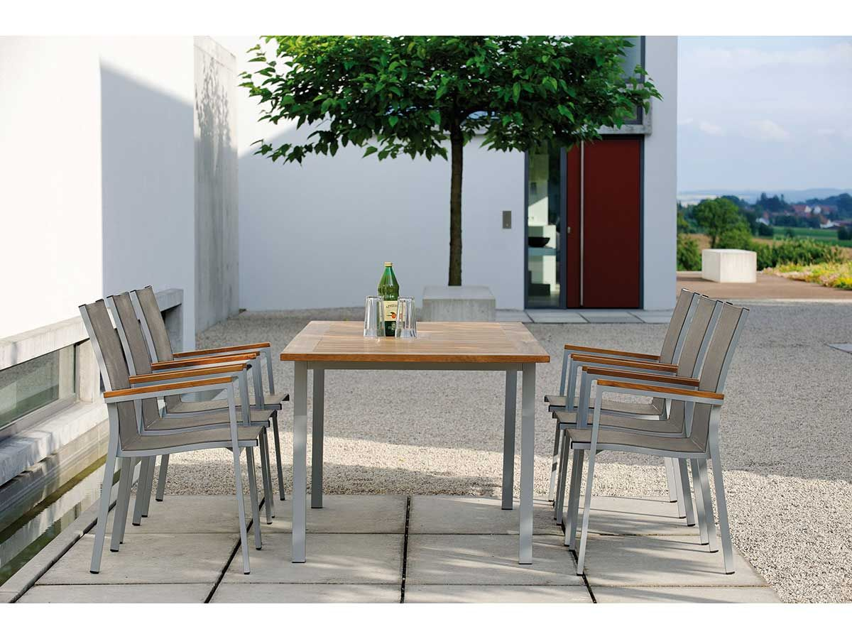 stern gartentisch ausziehtisch aluminium graphit teakplatte 2 gr en kaufen im borono online. Black Bedroom Furniture Sets. Home Design Ideas