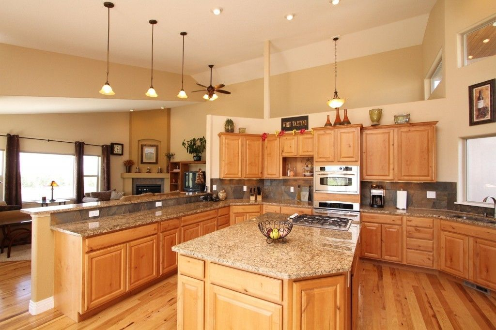 Denver hickory kitchen cabinets i like the wall color for Cabinet and countertop design