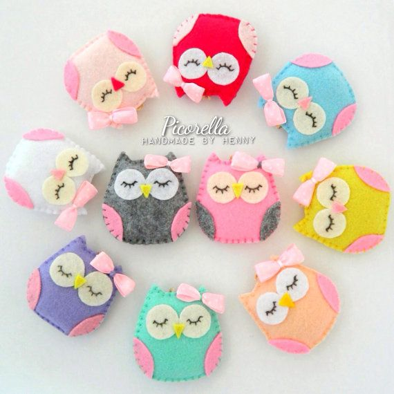 a set of felt owl party favor felt owl baby shower picorella