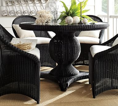Palmetto All Weather Wicker Round Pedestal 48 5 Dining Table