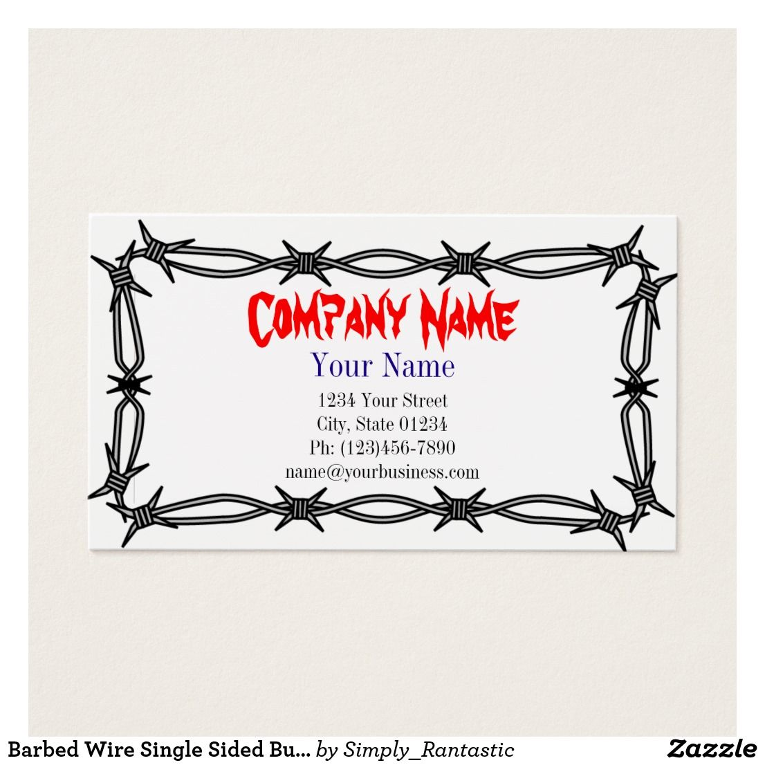 Barbed wire single sided business card template business cards barbed wire single sided business card template fbccfo Image collections