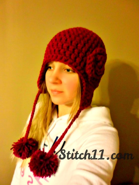 Blossom Earflap Hat Pattern. This free crochet pattern is designed ...