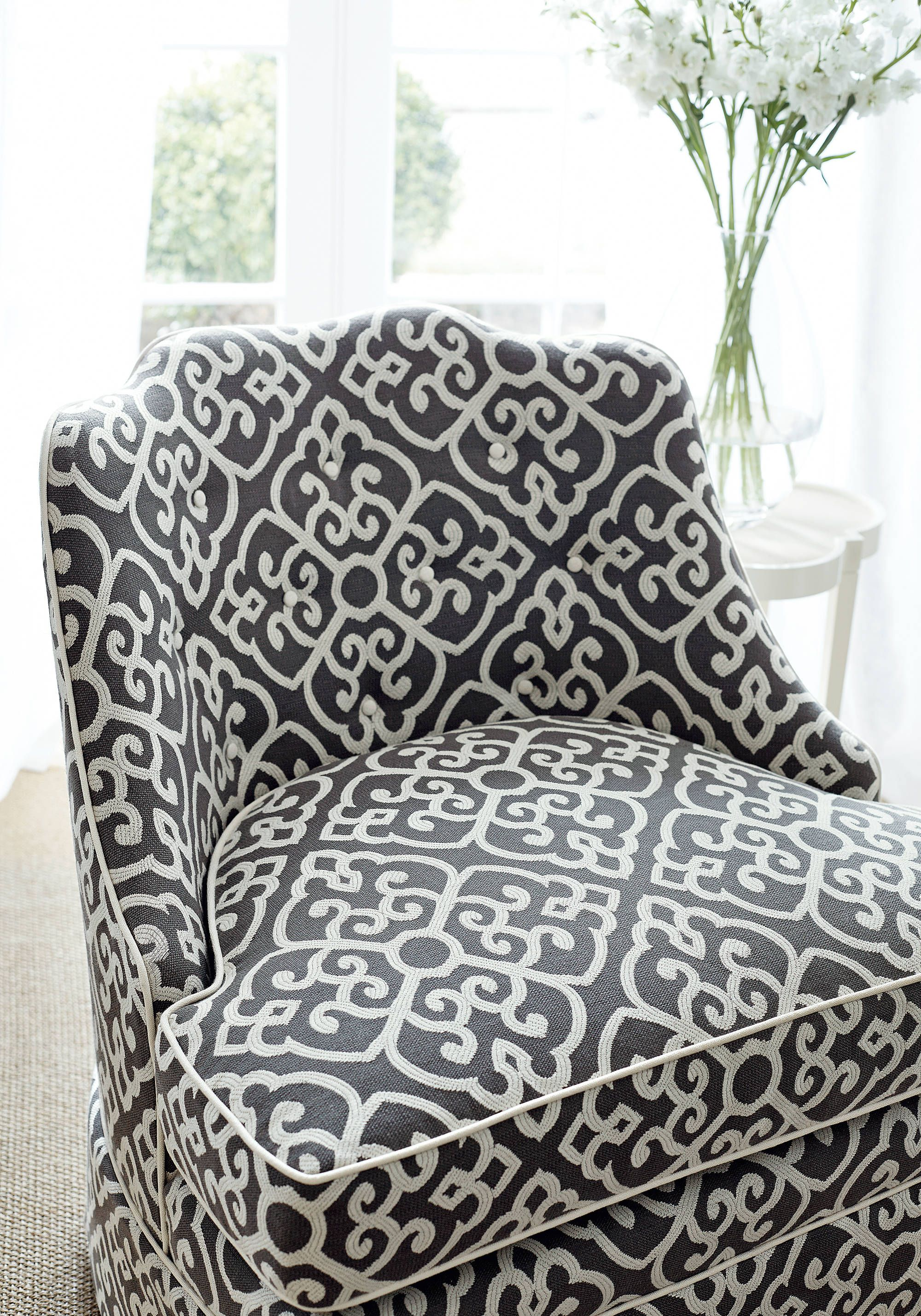 brentwood chair. Brentwood Chair From Thibaut Fine Furniture With Skirt In Shoji Woven Fabric Charcoal