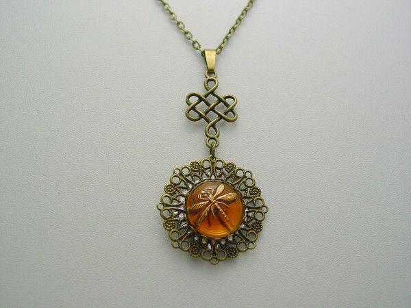 Outlander Antique Bronze Floral Design Amber Dragonfly Antique Silver Compass With Celtic Knot Drop