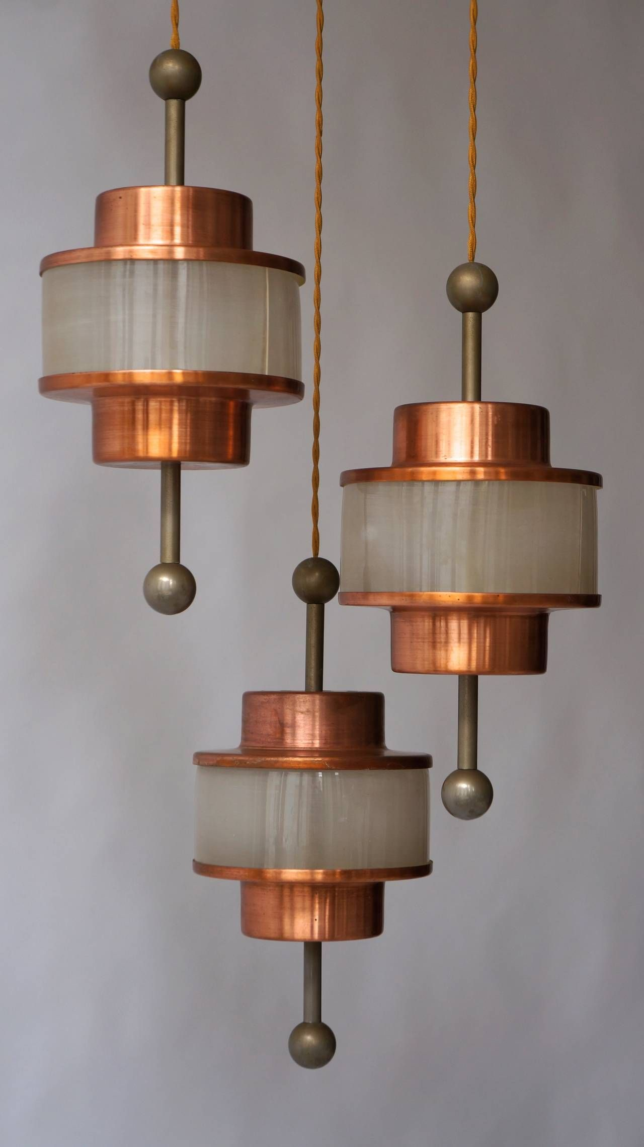 Hollywood Regency Brass Triple Pendant Chandelier - From A Unique