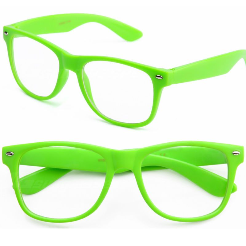 67867badda6 Light Green Neon Clear mirror Lens nerd Glasses 1