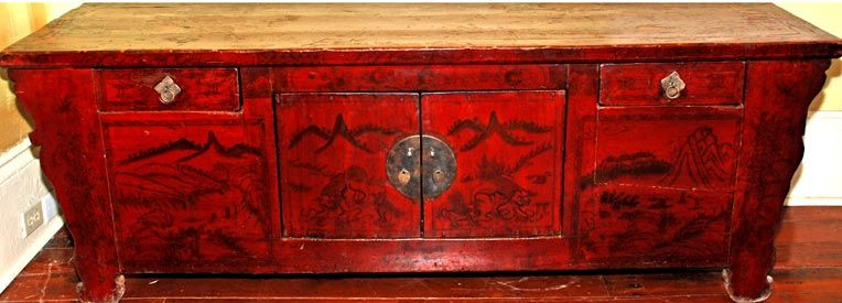 Antique Asian decorated wooden low alter table with doors. - Antique Asian Decorated Wooden Low Alter Table With Doors. Asian