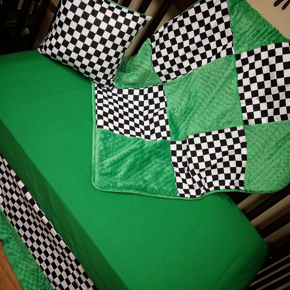 BUMPERLESS. Checkered Flag Crib Set. You by GraceMadisonDesigns