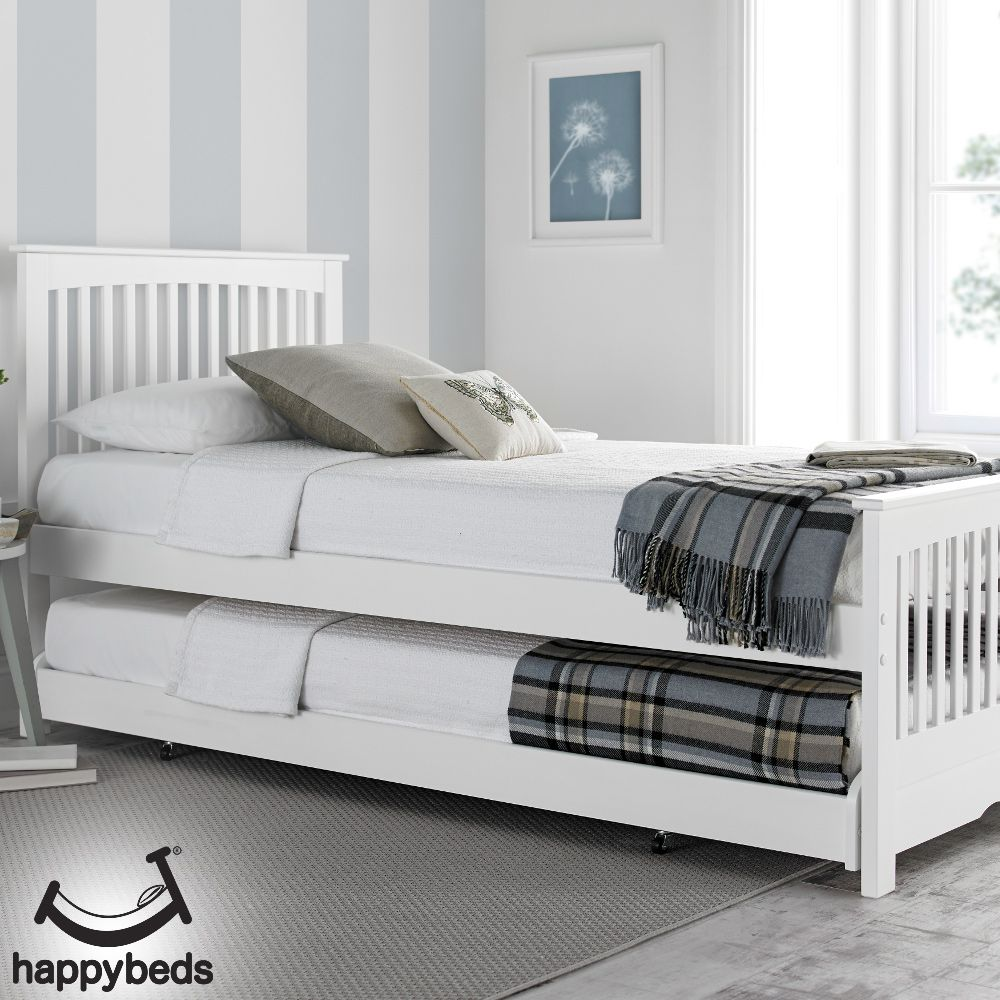 Toronto White Wooden Guest Bed And Trundle 3ft Single In 2020
