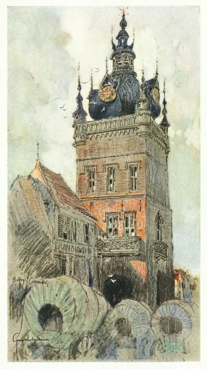 The belfry: Commines. by George Wharton Edwards. From Vanished towers and chimes of Flanders, Philadelphia, 1916. Via archive.org.