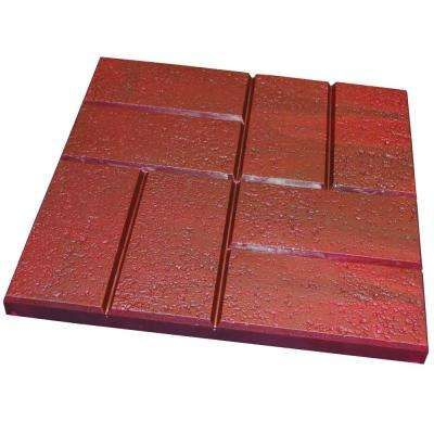 16 in x 16 in plastic deep red brick pattern resin patio pavers