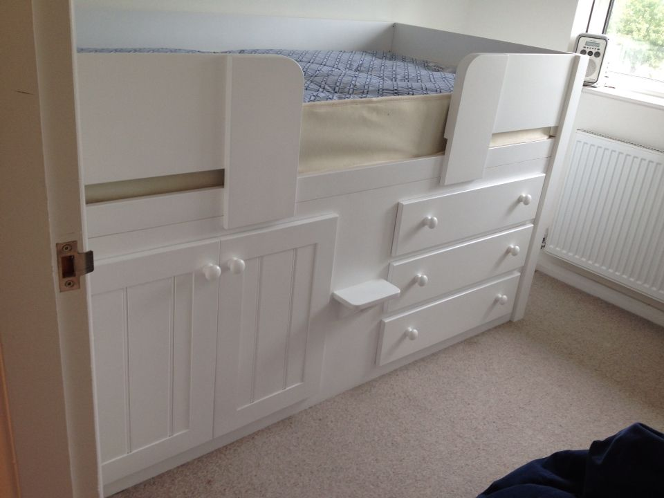 All white cabin bed with 3 drawers. If your child has a ...