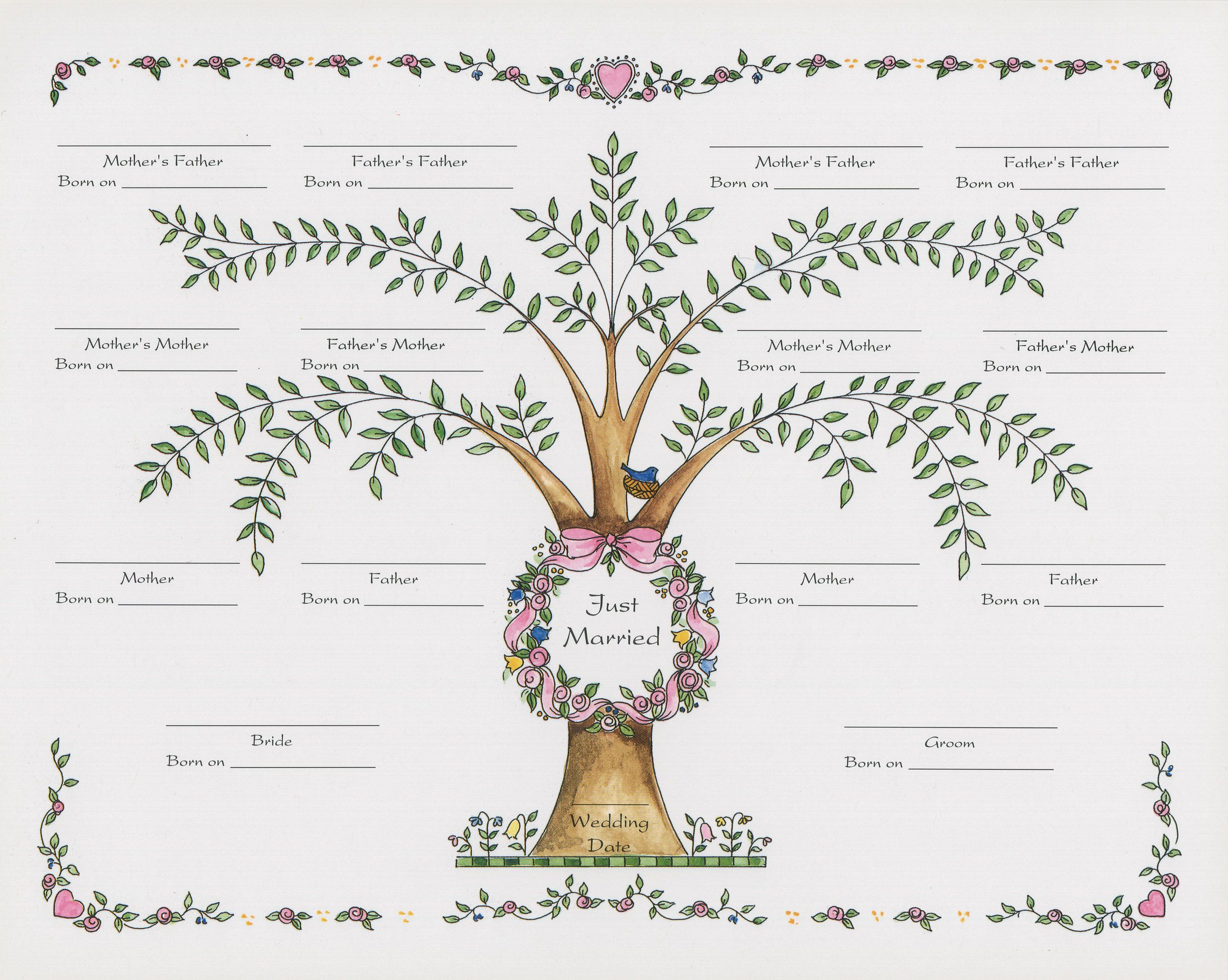 Fun family tree template with hearts Stammbaum vorlage