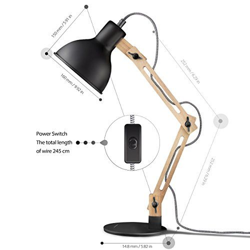 Scandinavian Swing Arm Wood Desk Lamp