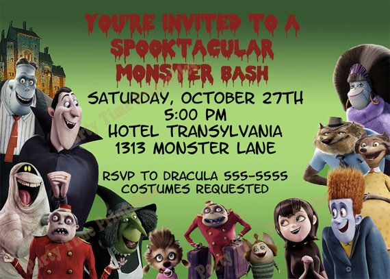 Hotel Transylvania Party Invitation Invitaciones De Fiesta