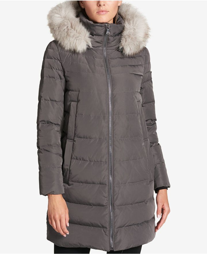 dcbc3bee6 DKNY Faux-Fur-Trim Down Puffer Coat | Products | Down puffer coat ...