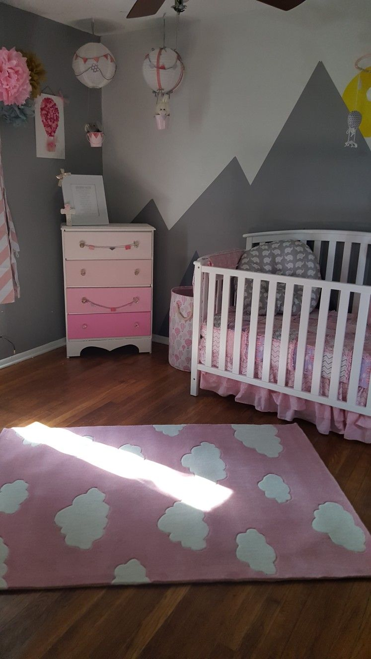 Pink Grey Nursery Clouds Hot Air Balloons Mountains Girl Pink