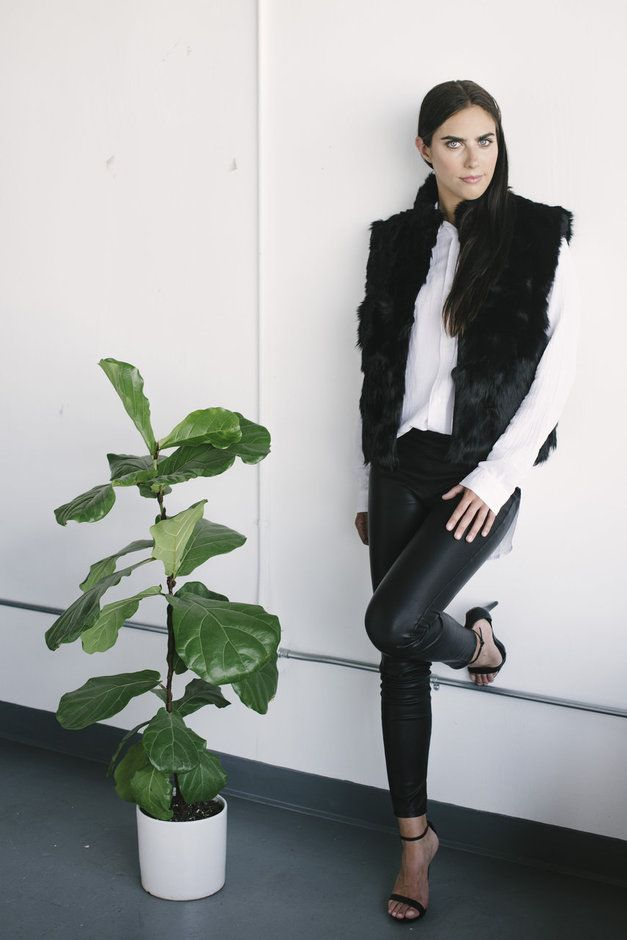 Ethically sourced alpaca fur vest with white shirt and black leather leggings.
