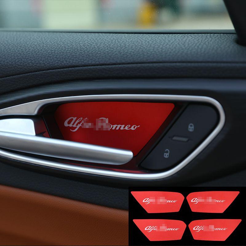 For Alfa Romeo Giulia Stelvio 2017 Car Styling Aluminum Interior Door Bowl Cover Trim Accessories Set Of Interior Accessories Doors Interior Alfa Romeo Giulia