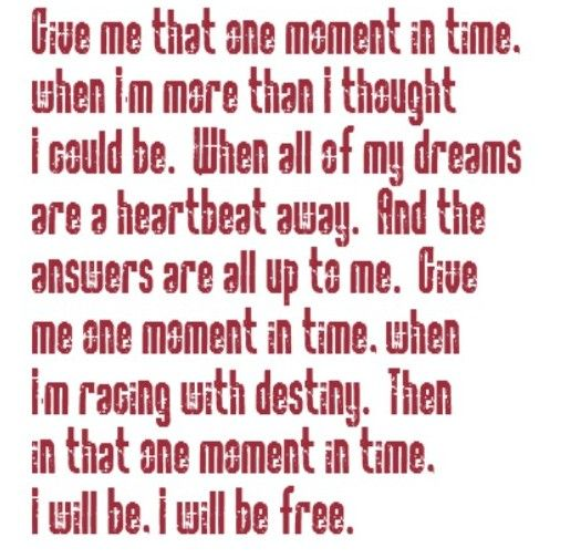 Greatest Song Lyrics Quotes: One Moment In Time