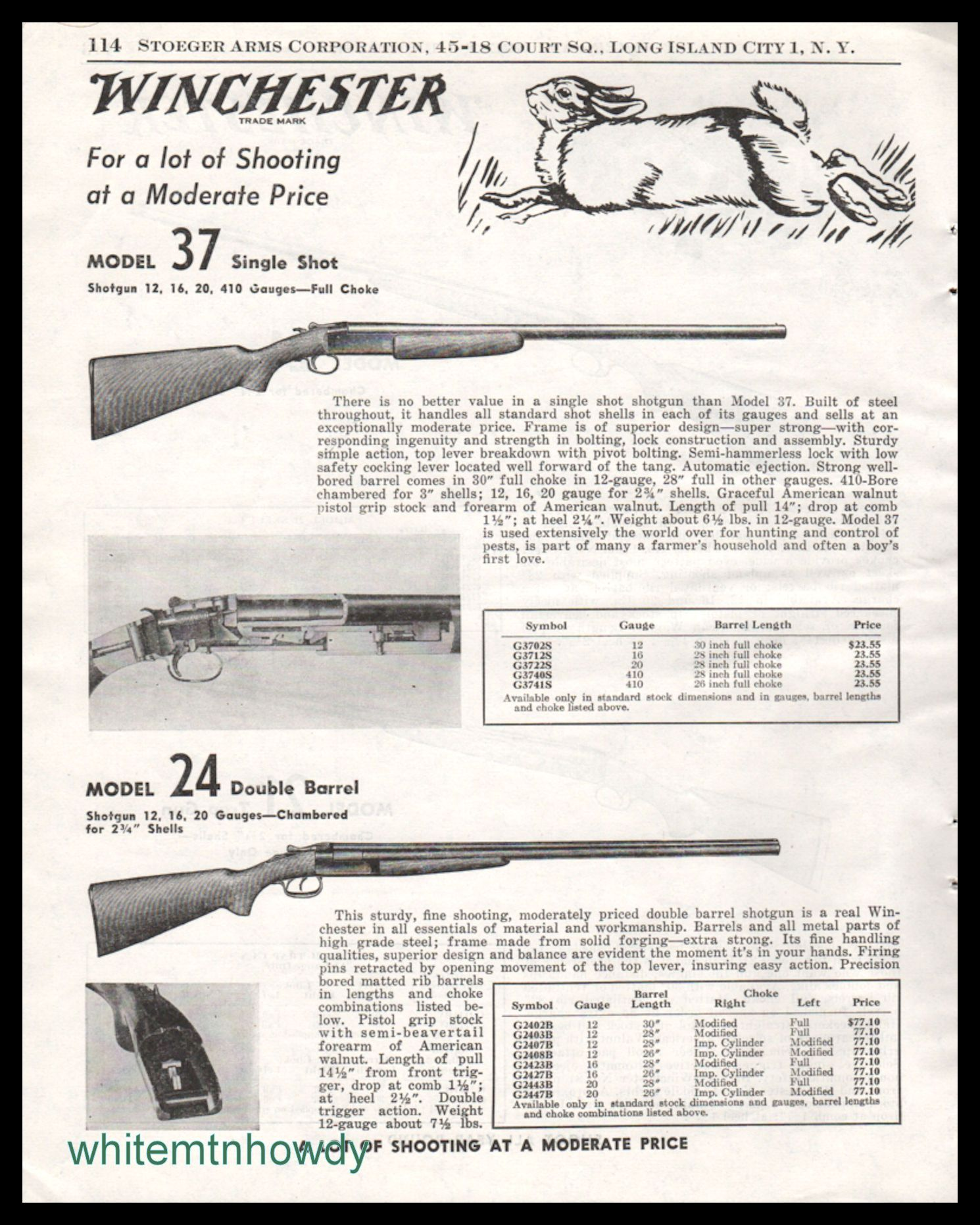 1954 Winchester Model 37 24 Shotgun Print Ad Other Collectibles