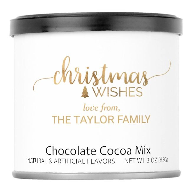 Simple Gold Calligraphy Christmas Cocoa Mix |  Simple Gold Calligraphy Christmas Cocoa Mix