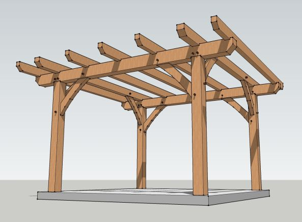 Diy Pergola Plans 12 12 Wooden Pdf Woodworking Projects In Sketchup Timber Pergola Timber Frame Pergola Plans Outdoor Pergola