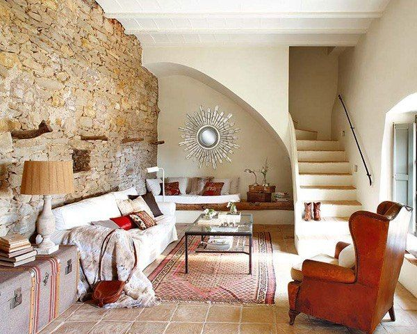 Natursteinwand im Wohnzimmer rustikales aussehen Wohnzimmer - natursteinwand wohnzimmer
