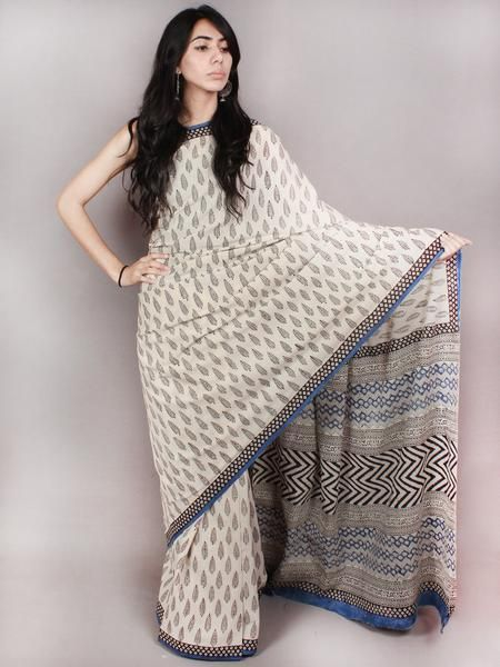 Ivory Black Blue Hand Block Printed in Natural Colors Cotton Mul Saree - S03170804