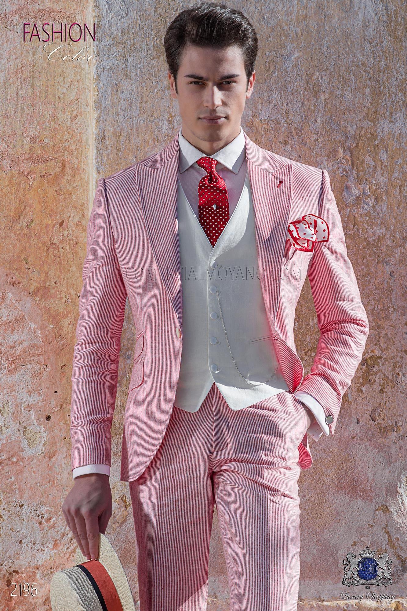 Traje de novio de lino rojo con raya blanca | Pinterest | Traje de ...