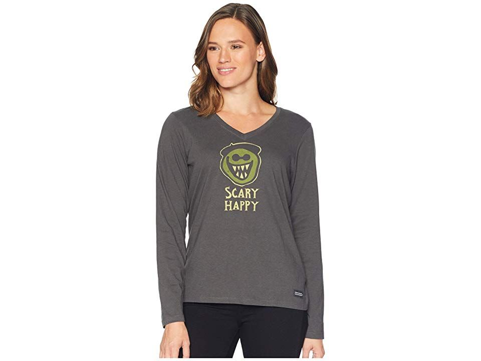 Life is Good Scary Happy Crusher Vee Long Sleeve T-Shirt (Night Black) Women s  T Shirt. Don t worry be scary with the Life is Good Scary Happy Crusher Vee  ... a6e376670