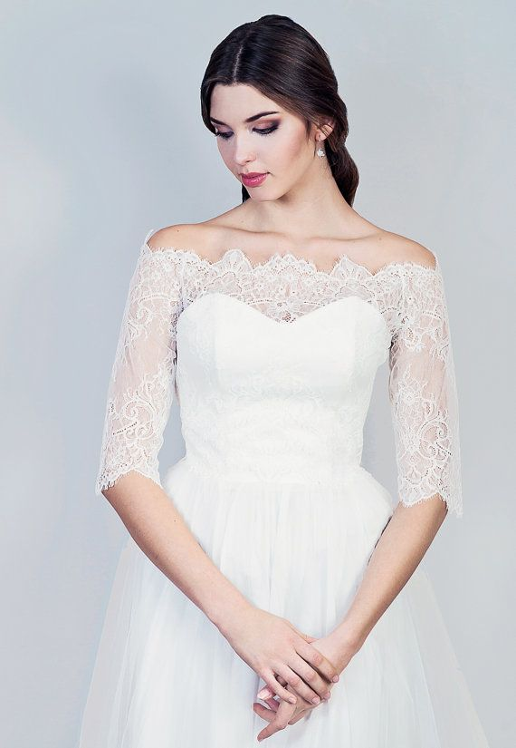 Bridal Off Shoulder Lace Jacket Bridal Jacket Lace Wedding Topper In White And Ivory
