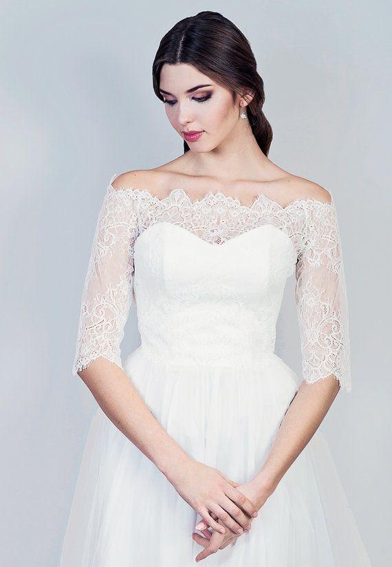 455c8b7631d6a Bridal off-shoulder lace jacket