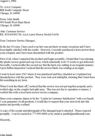 service complaint sample and more letter templates letters pics - letter to customer