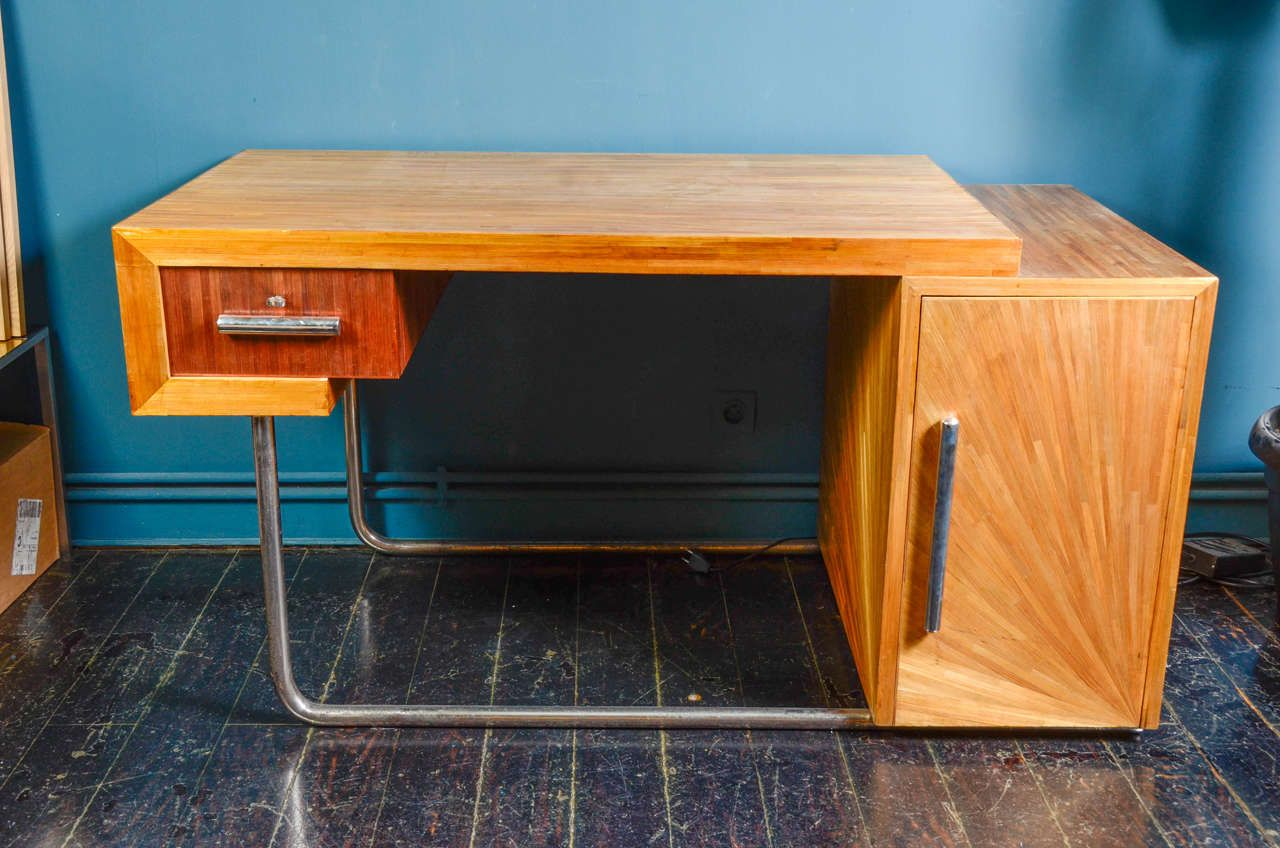 Extraordinary Desk In Straw Marquetry Attributed To Blanche Klotz